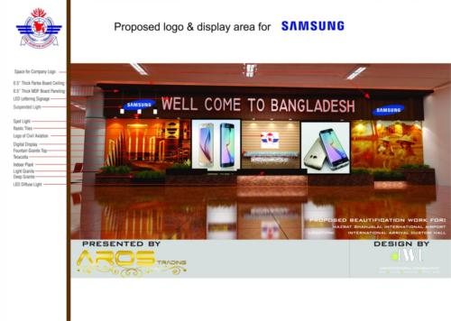 AROS  & SUMSUNG  jointly Video Wall at  Hazrat Shajalal International Arrival Lounge area